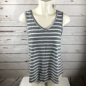 Gap Gray & White Striped Tank Sz M